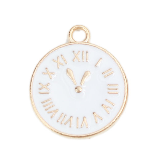 3 pieces Clock Charm Gold Plated with White 17x14mm