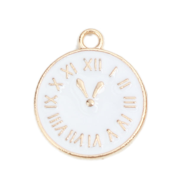 Clock Charm Gold Plated with White 17x14mm, 3 pieces