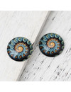 Cabochon 20mm Fossil Spiral Green Yellow