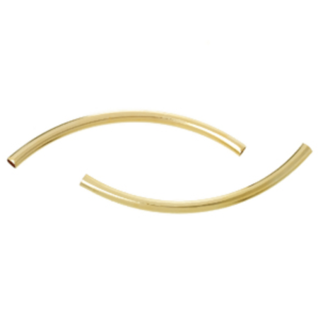 20 Pieces Gold Plated Tube Beads 0x3mm