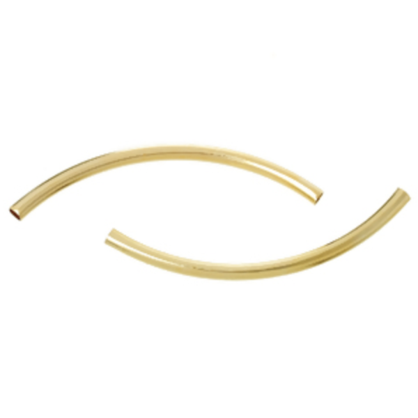 10 Pieces Gold Plated Tube Beads 50x3mm