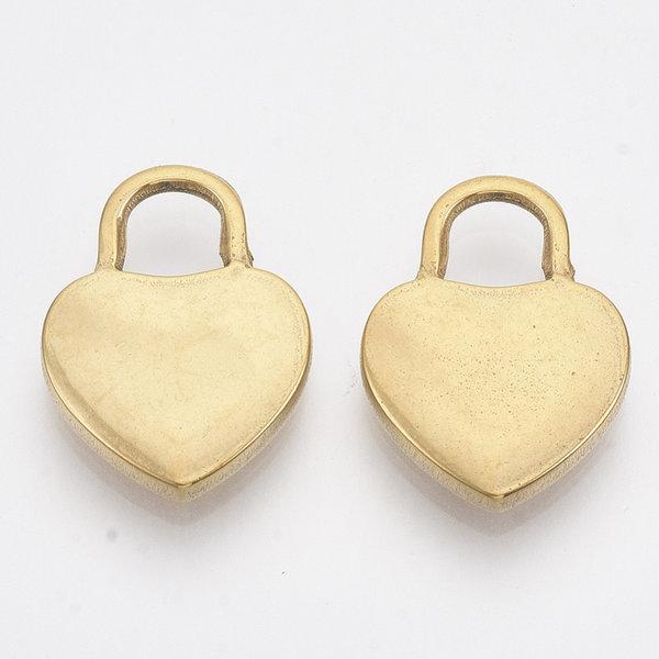 Stainless Steel Heart Lock Bedel Goud 20x15mm
