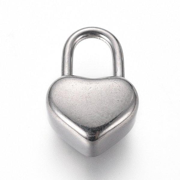 Stainless Steel Heart Lock Bedel Zilver 16x11mm