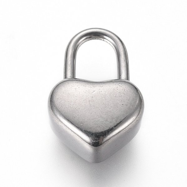 Stainless Steel Heart Lock  Charm Silver 16x11mm