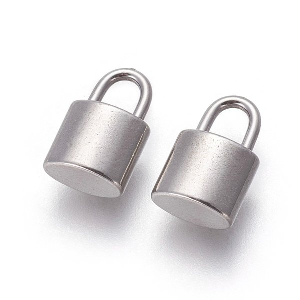 Stainless Steel Lock Charm Silver 13x8mm, 3 pieces