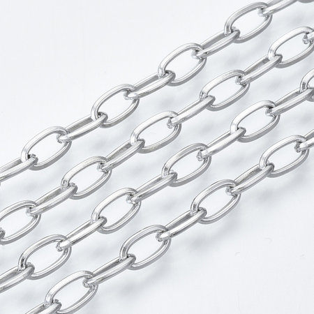 1 meter Stainless Steel Cable Chain Silver 7x4mm