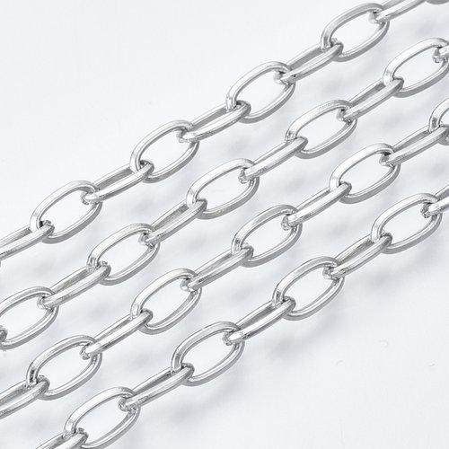 1 meter Stainless Steel Schakel Ketting Zilver 7x4mm
