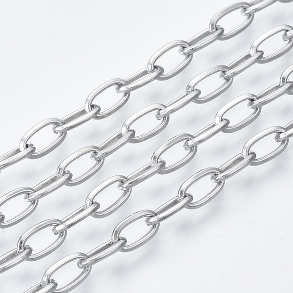 Stainless Steel Cable Chain Silver 7x4mm, 1 meter