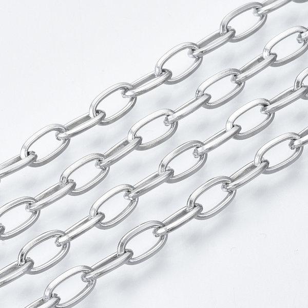Stainless Steel Schakel Ketting Zilver 7x4mm,  1 meter