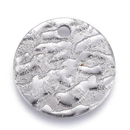 5 stuks Stainless Steel Muntje met Reliëf Zilver 12mm