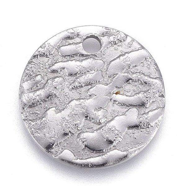 Stainless Steel Muntje Bedel met Reliëf Zilver 12mm, 5 stuks