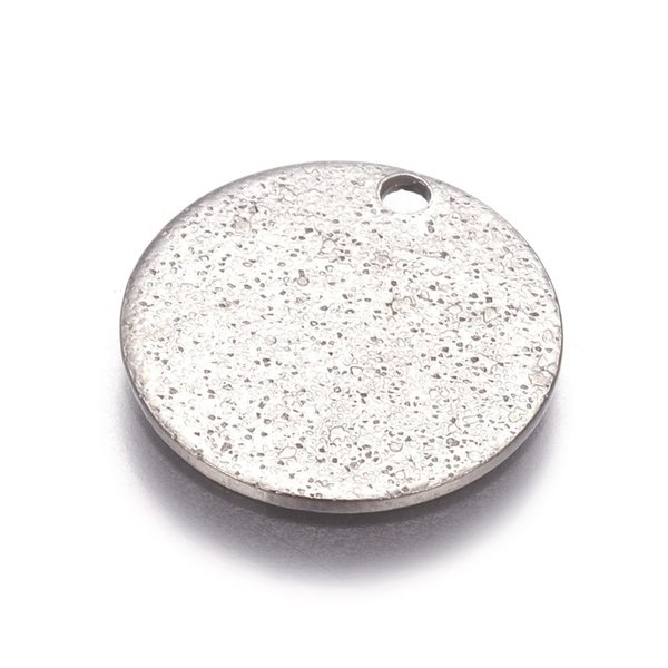 Stainless Steel Coin Charm Stardust Silver 15mm, 5 pieces