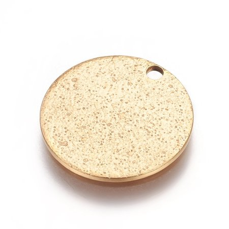 5 pieces Stainless Steel Coin Charm Stardust Gold 15mm