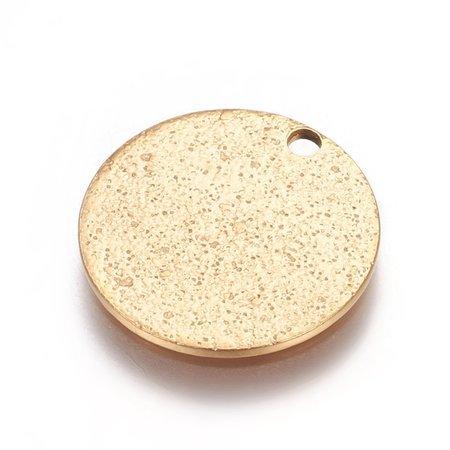 5 stuks Stainless Steel Munt Bedel Stardust Goud 15mm