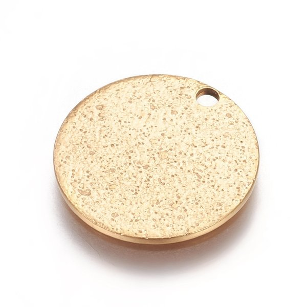 Stainless Steel Coin Charm Stardust Gold 15mm, 5 pieces