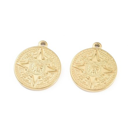 Stainless Steel Coin Charm Maya Gold 23.5x20mm