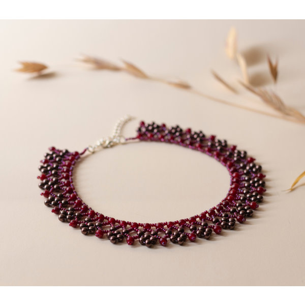 Classic Beadwork Necklace in Burgundy Red