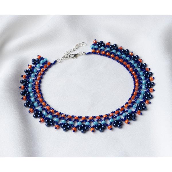 Beadwork Rijgpatroon Ketting in Blauw en Oranje