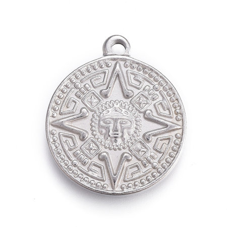 Stainless Steel Coin Charm Maya Silver 24x20mm