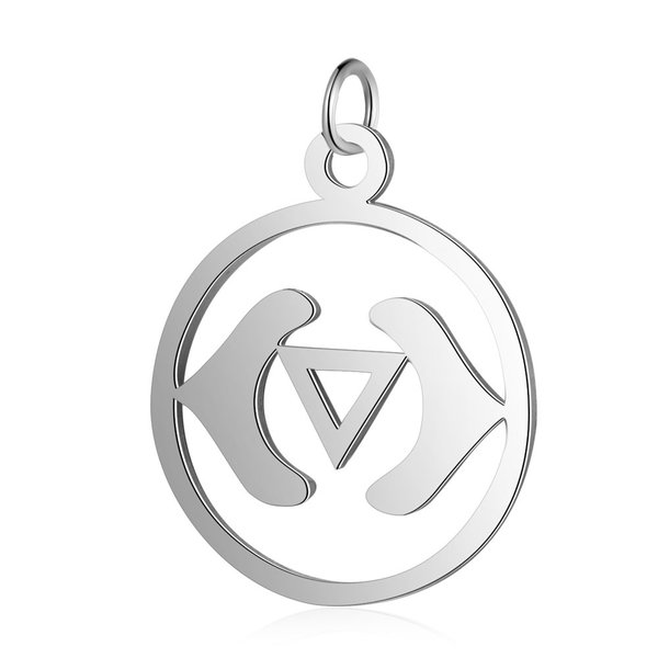 Third Eye Chakra Ajna Stainless Steel Charm 22.5x19mm Silver