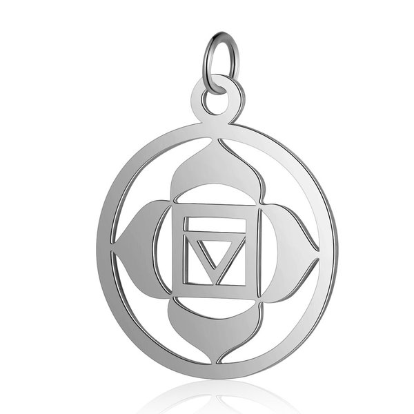 Root Chakra Charm Muladhara 22.5x19mm Stainless Steel Silver