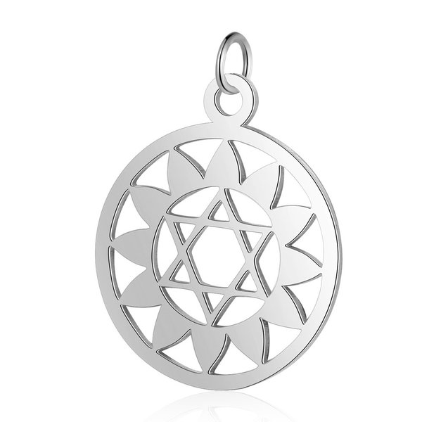 Heart Chakra Charm Anahata 22.5x19mm Stainless Steel Silver