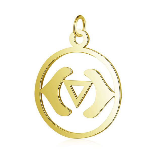 Third Eye Chakra Charm Ajna 22.5x19mm Stainless Steel Golden