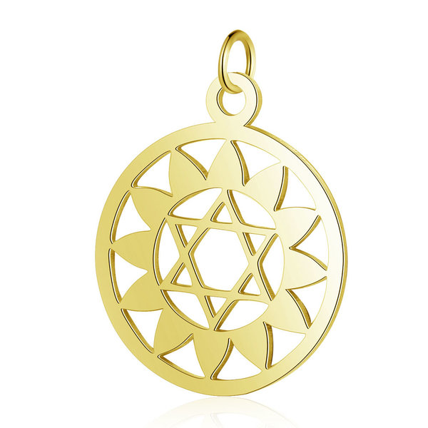 Heart Chakra Charm Anahata 22.5x19mm Stainless Steel Golden
