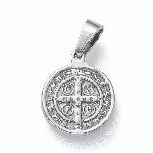 Stainless Steel Saint Coin Charm St. Benedict Silver 15x12mm