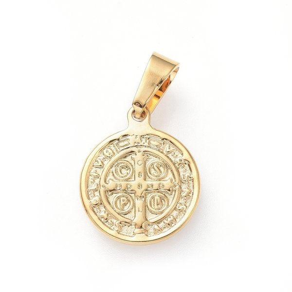 Stainless Steel Saint Coin Charm St. Benedict Gold 15x12mm