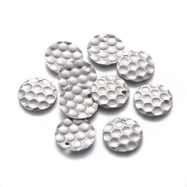 Stainless Steel Bedel Honigraat Print Zilver 20mm, 5 stuks