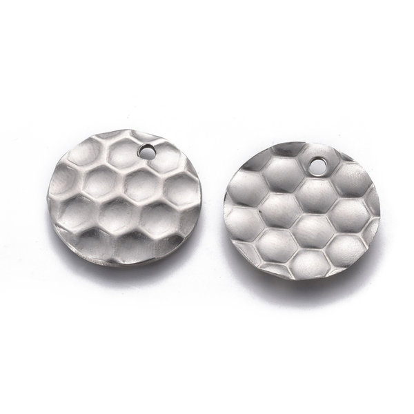 Stainless Steel Charm Honeycomb Print Silver 20mm, 5 pieces