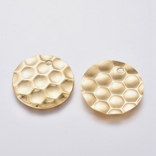 5 pieces Stainless Steel Charm Honeycomb Print Gold 20mm