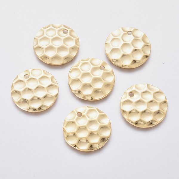 Stainless Steel Charm Honeycomb Print Gold 20mm, 5 pieces