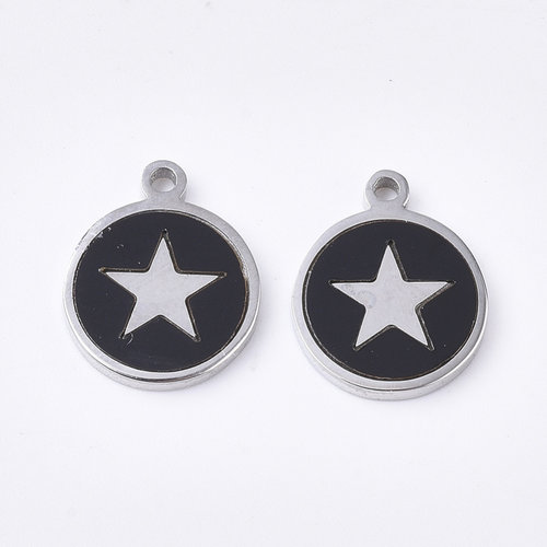 Stainless Steel Charm Black with Silver Heart 12x10mm