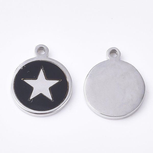 Stainless Steel Charm Black with Silver Star 12x10mm