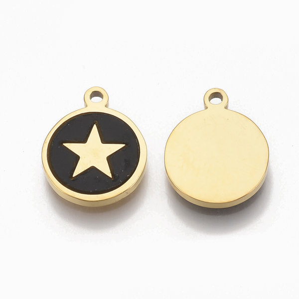 Stainless Steel Charm Black with Gold Star 12x10mm