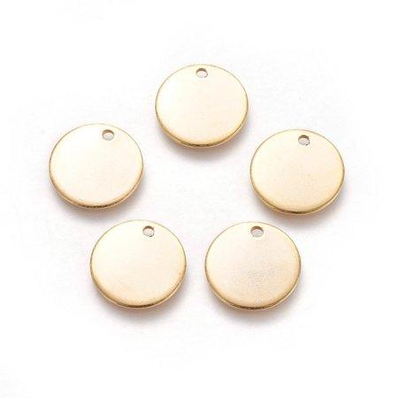 5 stuks Stainless Steel Muntje Bedel 15mm Goud