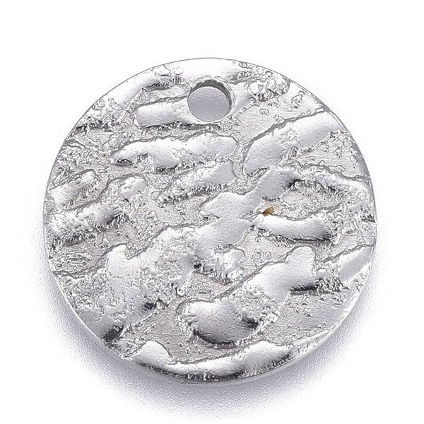 Stainless Steel Coin Charm with Carving  Silver 15mm, 5 pieces