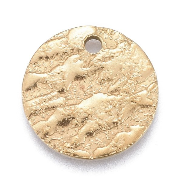 Stainless Steel Coin Charm with Carving  Gold 15mm, 5 pieces