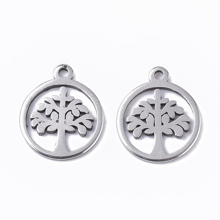 3 pieces Stainless Steel Charm Tree of Life Silver 12x10mm