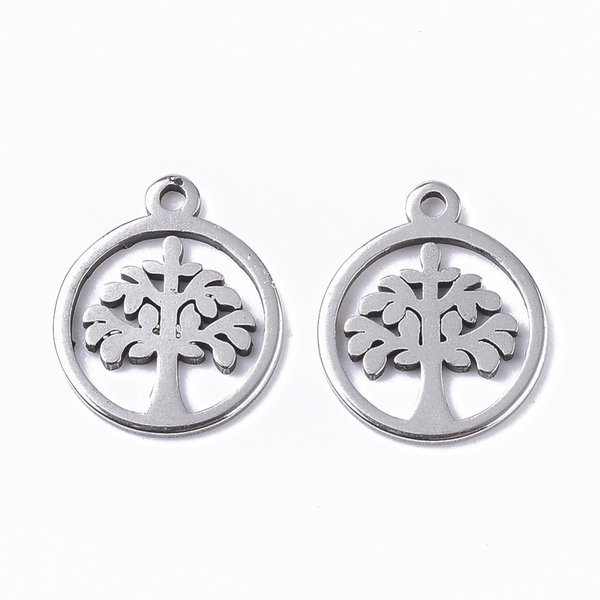 Stainless Steel Charm Tree of Life Silver 12x10mm, 3 pieces