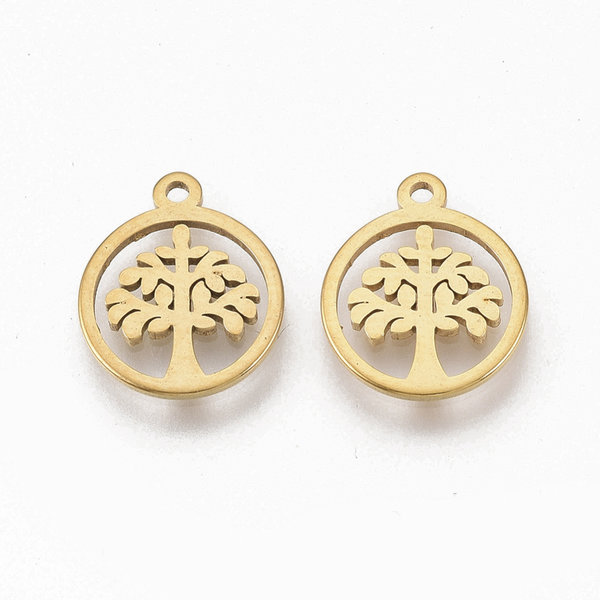 Stainless Steel Charm Tree of Life Gold 12x10mm, 3 pieces
