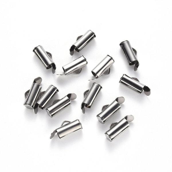 Stainless Steel Eindkap 10mm voor Weefarmbandjes, 10 stuks