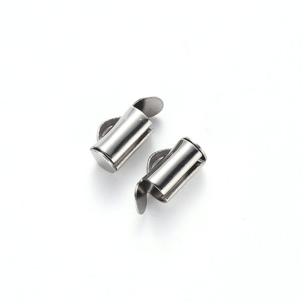 Stainless Steel Eindkap 8mm voor Weefarmbandjes, 10 stuks