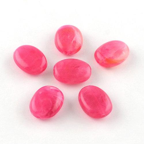 Gemstone Look Beads Fuchsia Pink 19x15mm, 8 pieces