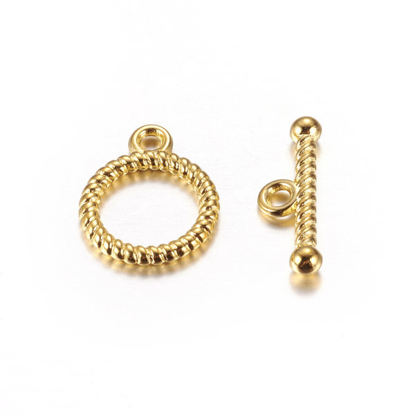Twisted Toggle Clasp Golden 13mm, 5 pieces
