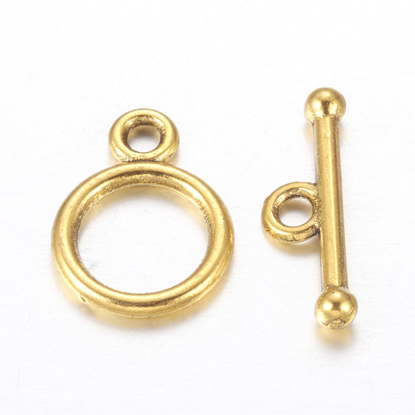 Tibetan Style Toggle Clasp Golden 10mm, 5 pieces