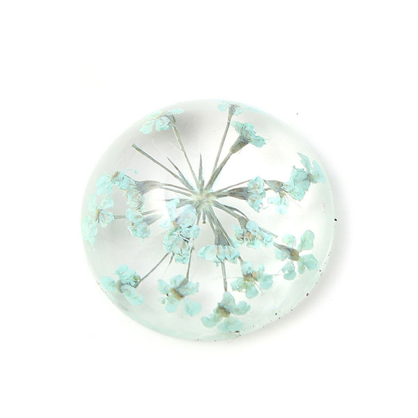 Resin Cabochon 20mm with Flowers Blue