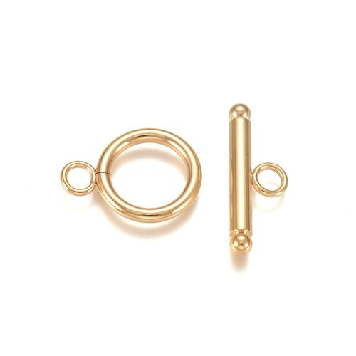 3 pieces Stainless Steel Toggle Clasp Golden 18mm